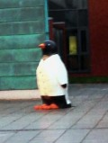 Penguin outside entrance to Liverpool Heart and Chest Hospital