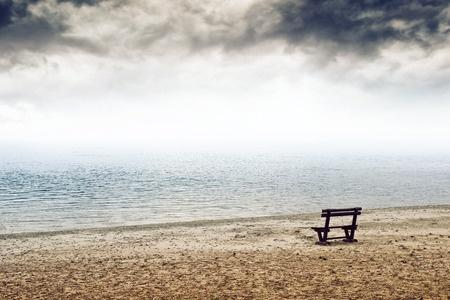 Loneliness empty bench