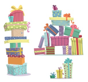 30561685 - piles of presents  doodle heaps of gift boxes