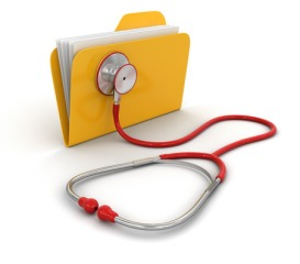 39321270 - folder and stethoscope (clipping path included)